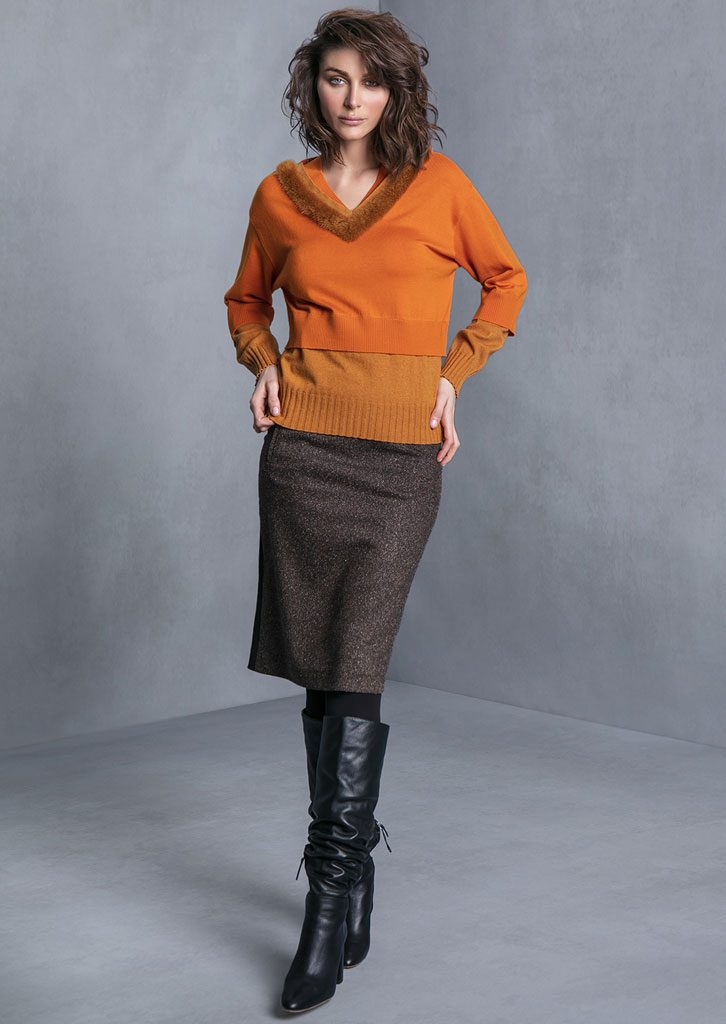 MAGLIA/SWEATER <strong>T625</strong><br> GONNA/SKIRT <strong>T644</strong>